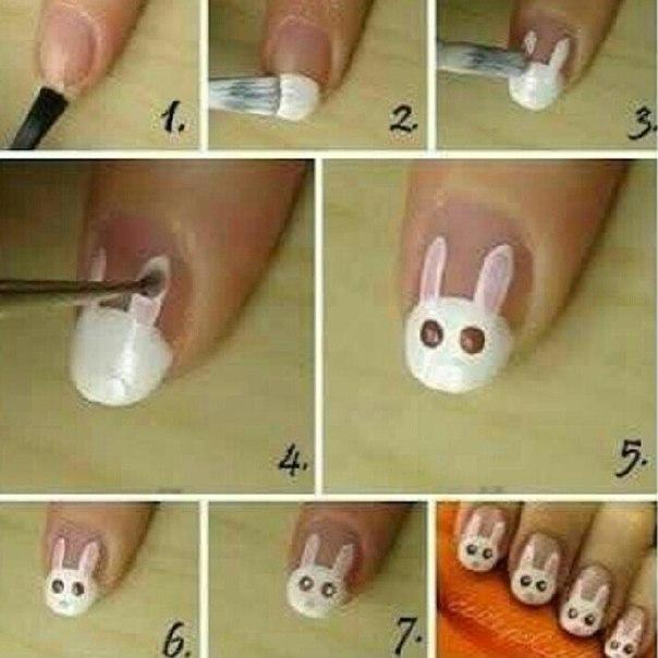 Ногти с зайцами