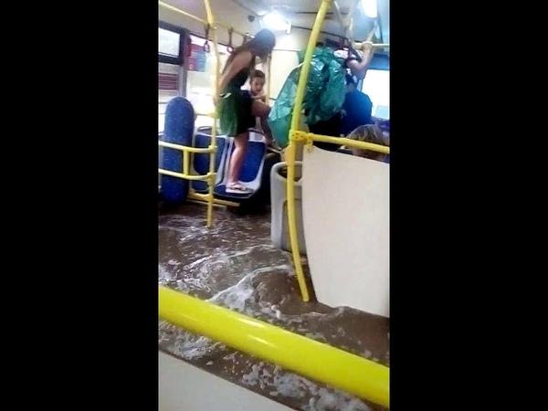 Ливень в Волгограде топит автобус