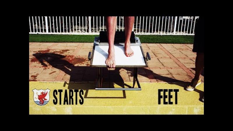 Старт в плавании – техника старта с тумбочки - Как позиционировать ваши ноги [ENG]