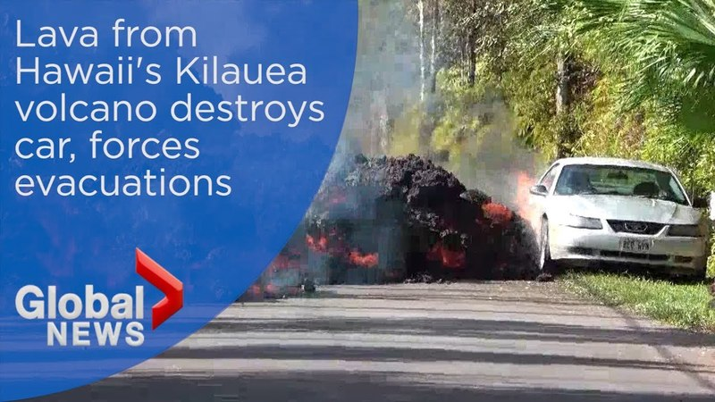 Car destroyed as lava from Hawaiis Kilauea volcano continues to spread
