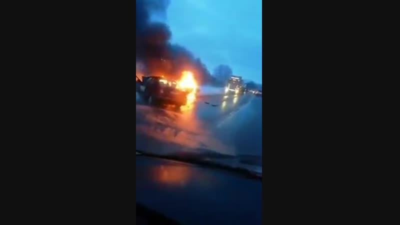 ДТП в деревне Пружицы, с последующим возгоранием, 12 января 2019г.