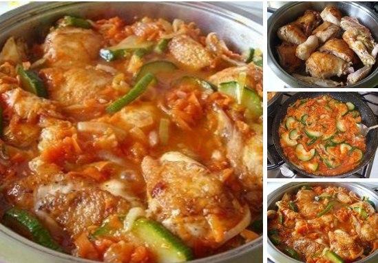 Рецепт курица с кабачком