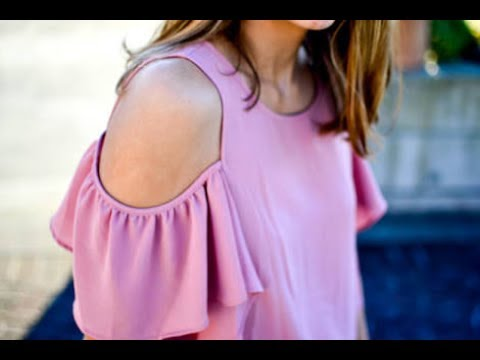 How to Make cold shoulder off shoulder Ruffles sleeves Easy making DIY ( Hindi version )