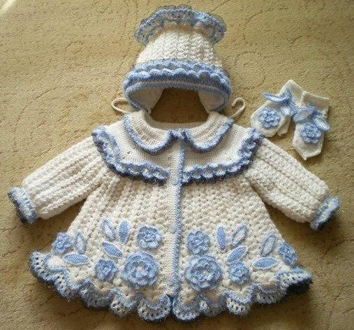 Пальто и шапочка малышке (7 фото)