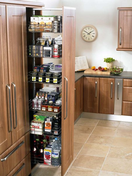 Выдвижные полочки на кухне