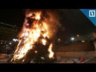 Елка загорелась на главной площади Южно-Сахалинска