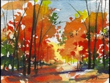 Quick Watercolor Painting - Autumn Landscape by Sumiyo Toribe