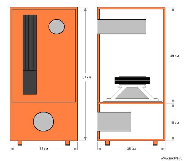 ...общей площадью 1200 см. Вся конструкция усилителя с блоком питания размещена на задней стенке корпуса сабвуфера.