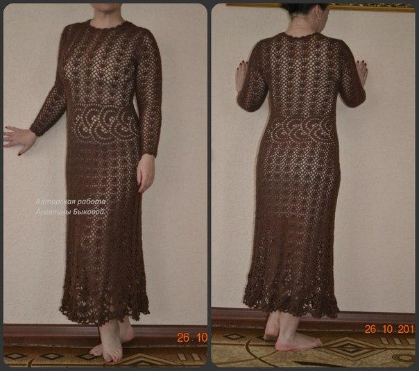 Мои новые авторские платья, связанные крючком- грильяж и Лагуна… (3 фото) - картинка