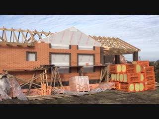 Заканчиваем кладку облицовочного кирпича при строительстве бани в пос. Ростовка.
