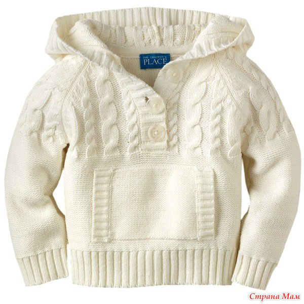 Вяжем детский пуловер с капюшоном. Вязание онлайн…. (9 фото) - картинка