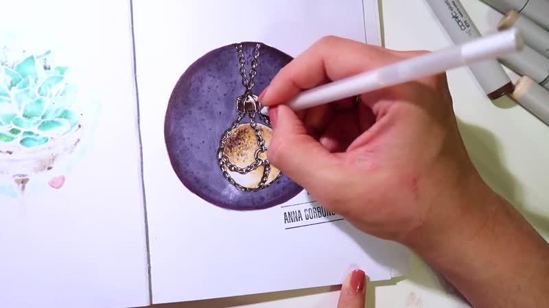 Copic markers speedpaint quartz crystal ball necklace__ маркеры копик спидпеинт