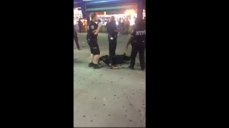 60Pct NYPD Officer Recklessly deploys Mace and gets a taste of her own medicine and hits the ground