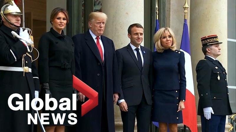 U.S. President Trump, French President Macron hold bilateral meeting in Paris