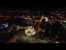 Saransk city at night. Video from the drone.