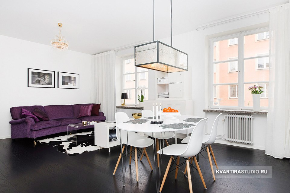 Черно-белый дизайн квартиры 43 м в Стокгольме / Швеция - http://kvartirastudio.