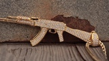 14K Gold Studded AK-47 Necklace Gun Pendants King Ice
