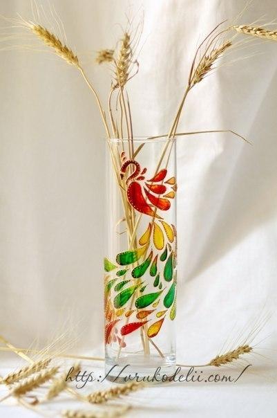 Роспись вазы в витражной технике: ваза Жар Птица… (6 фото) - картинка