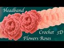 Diadema tejida a Crochet punto argollas gruesas con rosas miniatura 3D tejido tallermanualperu