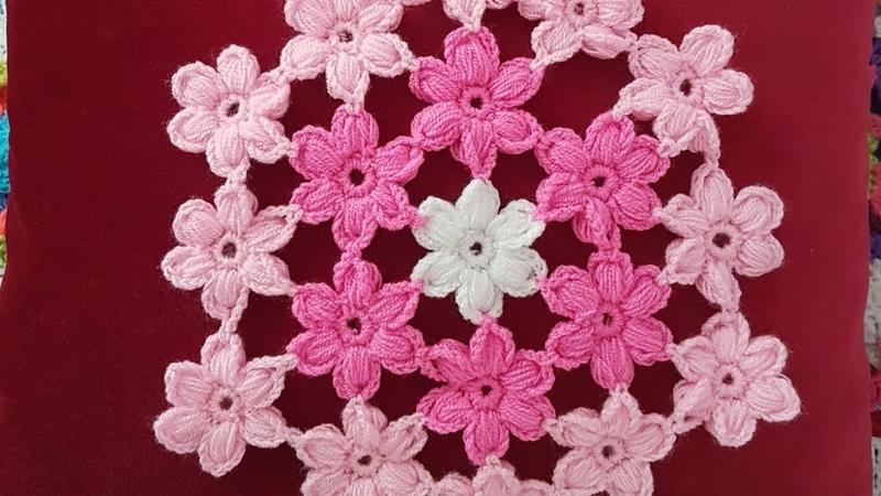 Puf Çiçekli Lif Supla Puff Stitch Flower