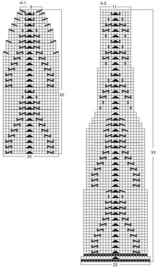 Схема вязки ажурного шарфа.