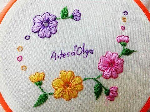 DIY Hand Embroidery: Eyelet Stitch Flowers - Step by step | Flores en Puntada Ojalillo | Artesd'Olga