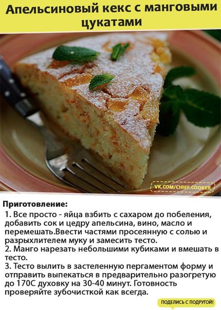 Апельсиновый кекс с манговыми цукатами