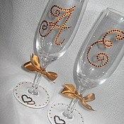 Бокалы свадебные своими руками из страз