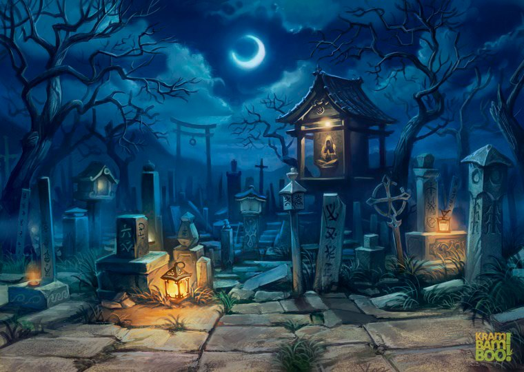 Кладбище. 3ед. энергии. Зомби и Скелеты.
