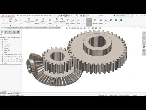 Solidworks tutorial | Bevel and Spur gear motion Study