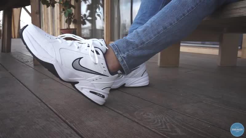 ON FEET Nike Air Monarch IV White Metallic Silver