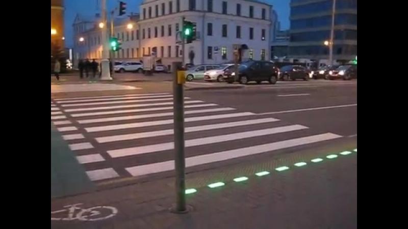 Светодиодная брусчатка на пешеходном переходе