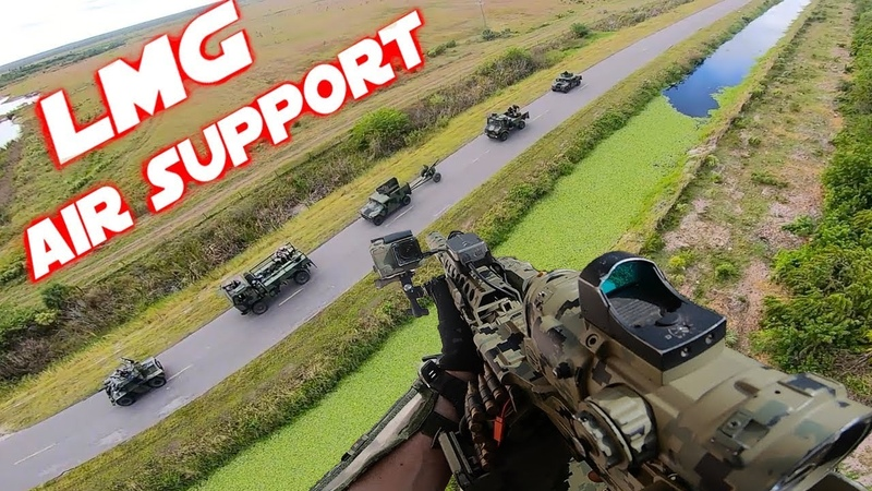 Airsoft Little Bird Helicopter Mission - PolarStar LMG Air Support !