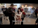 david duchovny takes time with a big fan Maddie at LAX