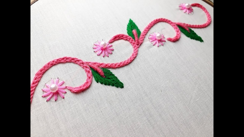 Hand embroidery Border design stitch | Stitches for border line