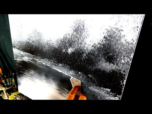 2 color challenge - black and white - simple landscape painting for beginners made simple
