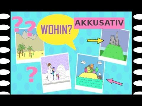 Deutsch lernen Frage Wohin in Akkusativ German question Where to accusative case