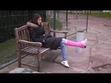 sock over pink cast