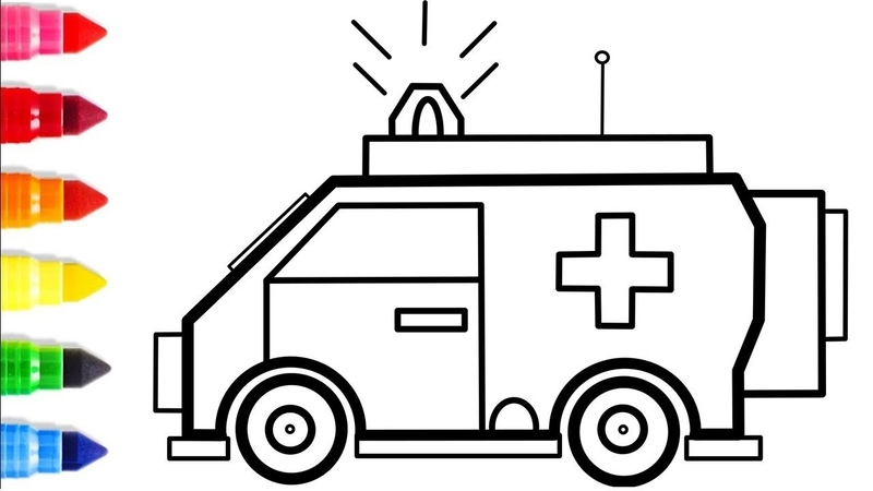Ambulance Truck Coloring pages Drawing and Coloring for Childrens   How to Draw Ambulance Truck