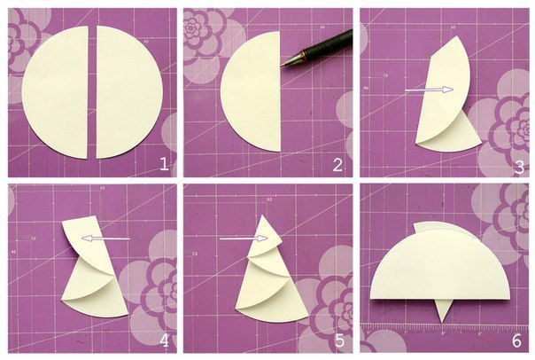 Елочка из кругов оригами