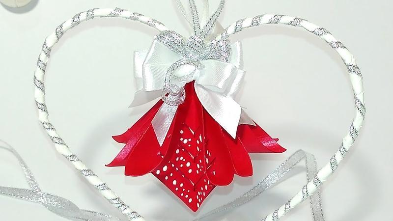 DIY Paper Christmas ornaments. Unique Christmas tree decoration. DIY hanging heart.