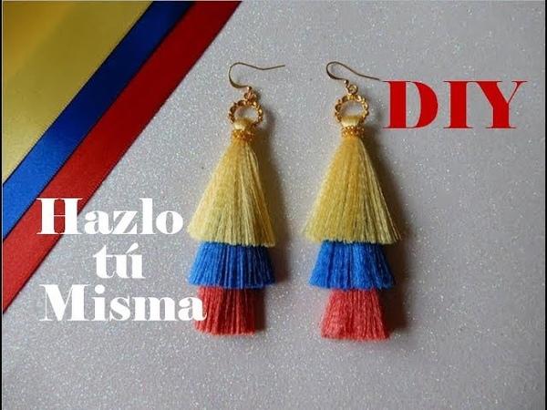 DIY ARETES TRI COLOR DE FLECOS | Paso a Paso