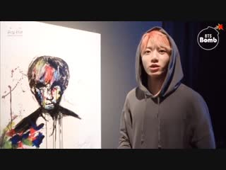 It's my painting! - You drew this Really You did so good - You see the colors - I drew of Suga hyung when we were shooting Begin