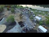 Колесо обозрения с высоты птичьего полета в городе Спутник. Пенза. HD. Penza aer