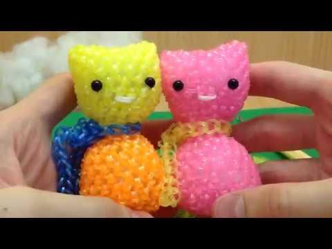 Мармеладный Котик из резинок лумигуруми (1 часть) на крючке Rainbow Loom