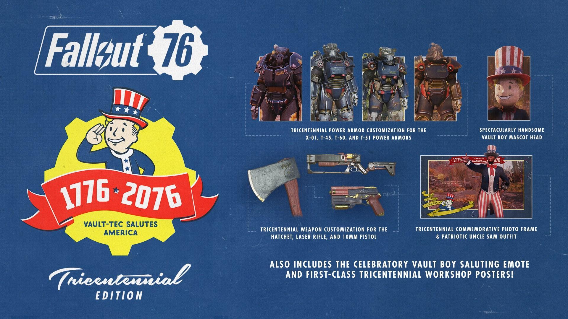 Дополнительные игровые предметы из «Fallout 76: издание к трехсотлетию»: