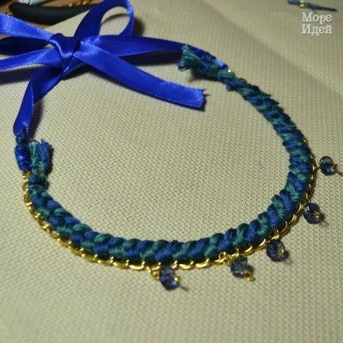 Мастер класс: ожерелье Морская Волна из нитей мулине, бусин и цепочки… (9 фото) - картинка
