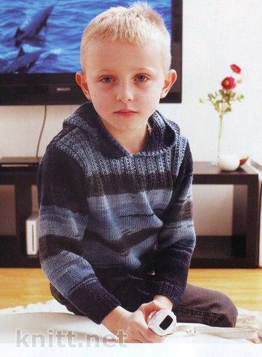 Вязаный спицами джемпер с капюшоном для мальчика… (2 фото) - картинка
