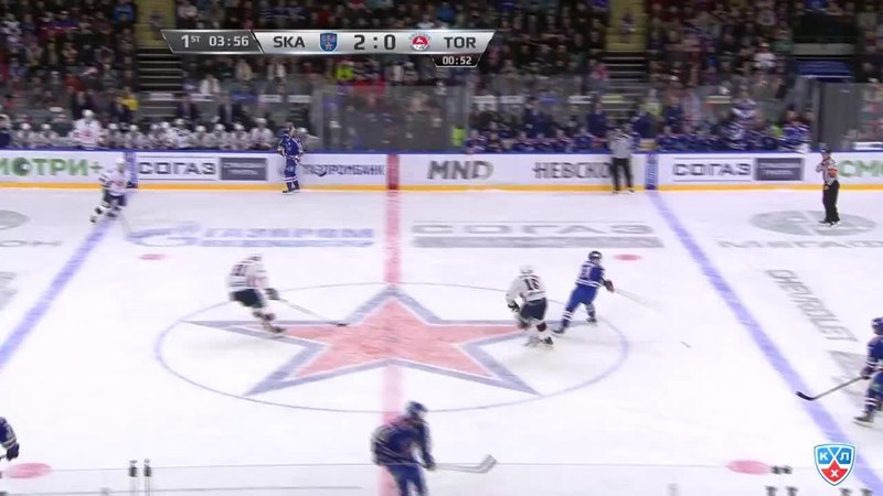 Моменты из матчей КХЛ сезона 14/15 • Удаление. Джимми Эрикссон (СКА) схлопотал двухминутный штраф за подножку 09.01