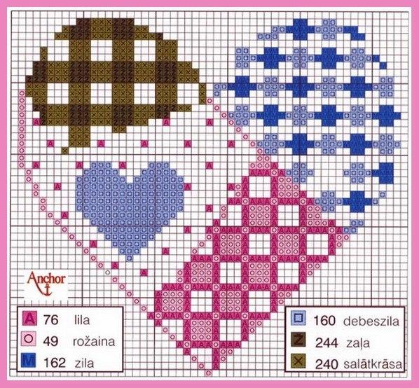 Схема для вышивки сердечка в